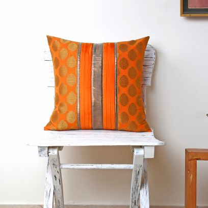 Orange Georgette Cushion Cover 16 by 16