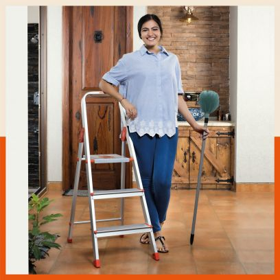 3 step aluminium folding ladder for home at low price