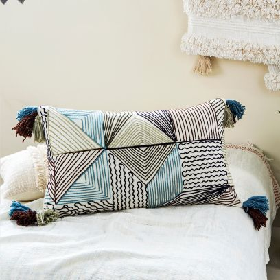 Handmade Cotton Woven Embroidered Cushion Cover - Set of 2