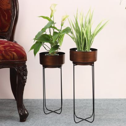 Antique Copper Shade Set of 2 Floor Pot with Black Stand