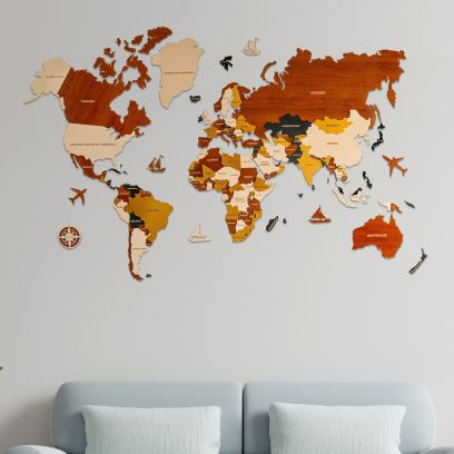 3D Multilayered Wooden World Map (48 Inch x 30 Inch)