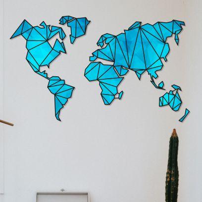 Blue Designer Wooden World Map - 72 Inch x 44 Inch x 0.4 Inch
