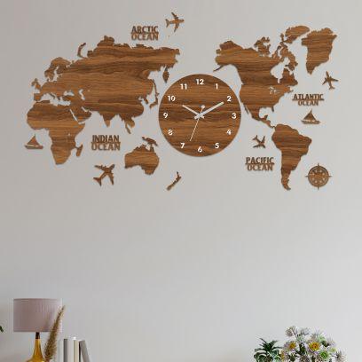 Modern Wooden Worldmap Wallclock - 36 Inch x 18 Inch x 0.4 Inch