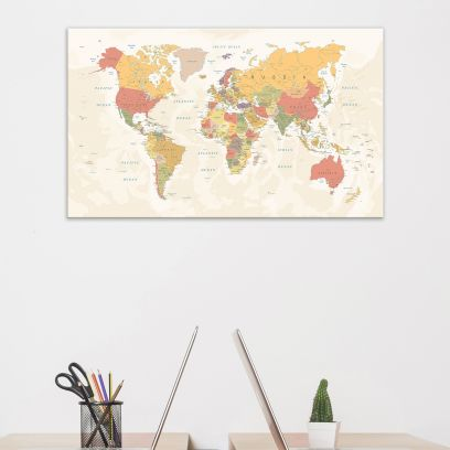 Vintage Detailed World Map With Country And City Names - 30 Inch x 18 Inch x 1 Inch (Cream)