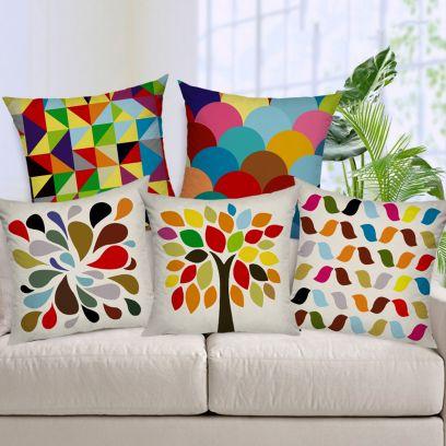 Multicolour Geometric Design Handmade Jute Cushion Covers - Set of 5