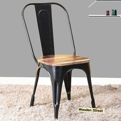 Buy Metal Garden Furniture Online in India - Metal Chair with wooden seat