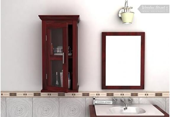 wooden bathroom cabinet with mirror in India