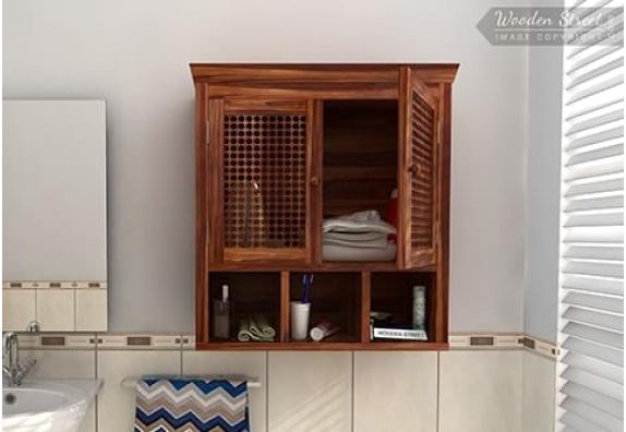 Buy wooden bathroom cabinet with mirror in Mumbai, Bangalore, Delhi