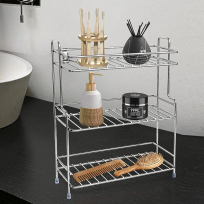 Silver Colour Stainless Steel Multipurpose Bathroom Shelf