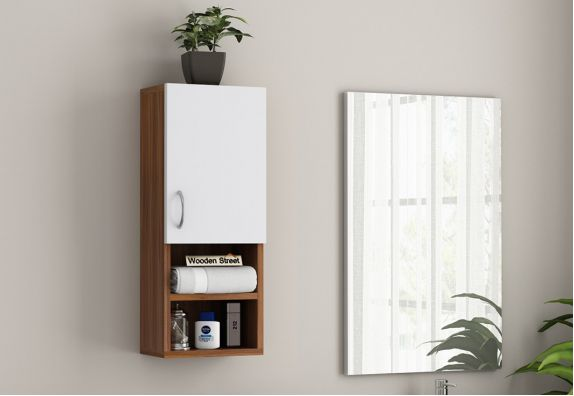 Stark Bathroom Cabinet (Exotic Teak - Frosty White Finish)