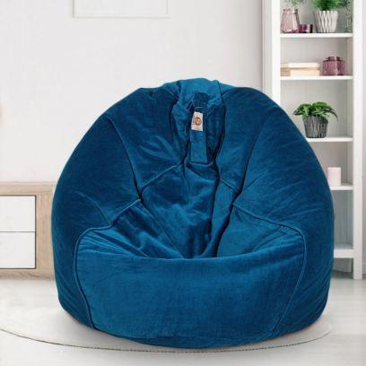 Blue Organic Premium Velvet Bean Bag Cover