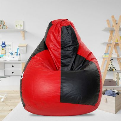 Classic Bean Bag Cover (XXL, Black and Red)