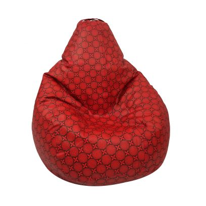 Flower Print Leatherette Bean Bag Cover (XXL, Red)