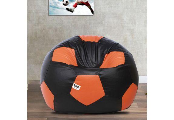 Football Bean Bag Cover (XXXL, Black And Orange)