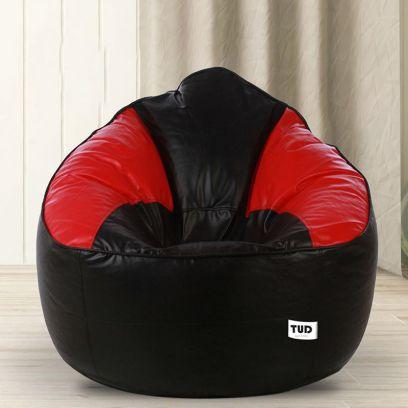 Muddha Sofa Bean Bag Cover (XXXL, Black and Red)