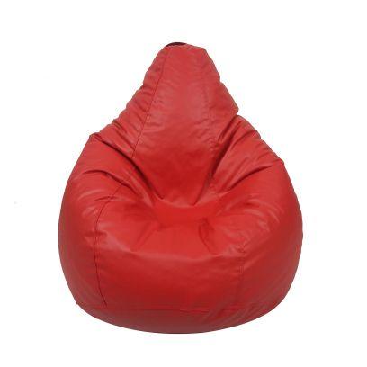 Plain Leatherette Bean Bag Cover (Jumbo, Red)