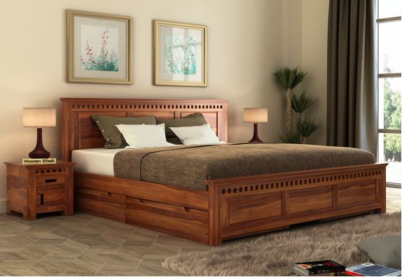 Queen Size Bed with side storage (honey finish) in Mumbai