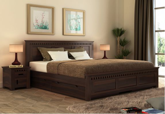 Adolph Bed With Side Storage (King Size, Walnut Finish)