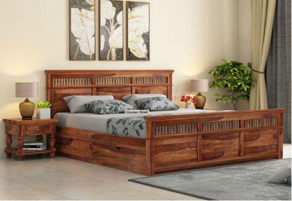 Alanis Bed With Storage (King Size, Teak Finish)
