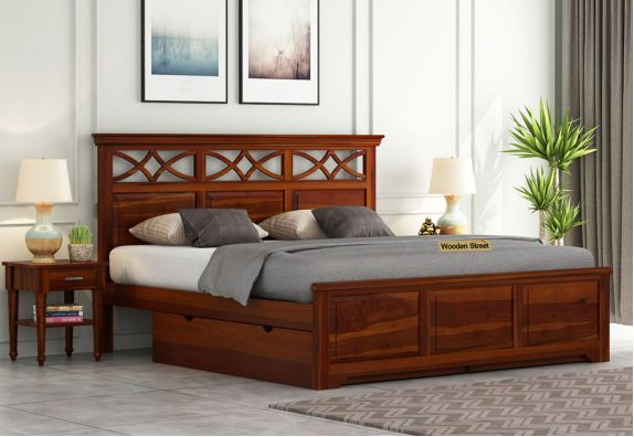 buy solid wood queen size bed online in pune & mumbai