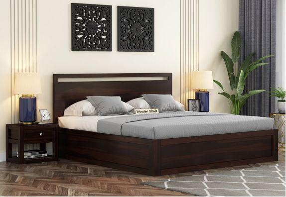 Bacon Bed With Box Storage (King Size, Walnut Finish)