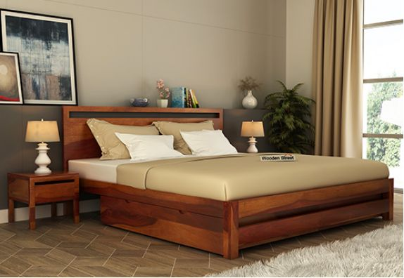 Double bed online, solid wood King size bed design with storage and price