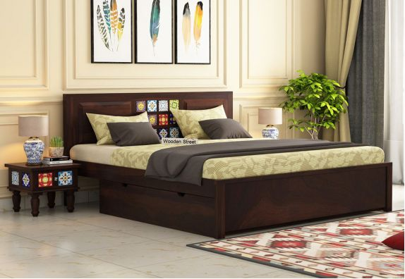 buy queen size double bed with storage in Hyderabad, wooden queen size cot with storage