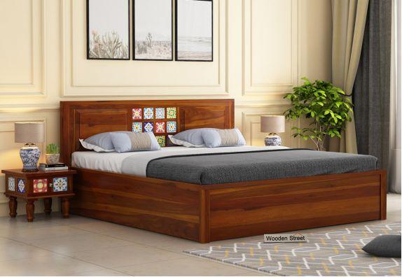 Boho Hydraulic Bed (King Size, Honey Finish)