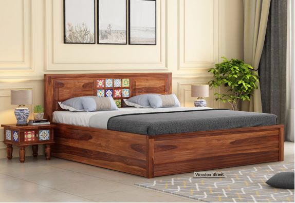 Boho Hydraulic Bed (Queen Size, Honey Finish)