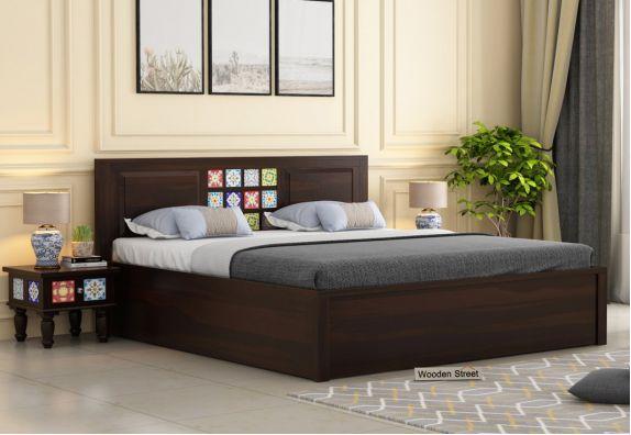 Boho Hydraulic Bed (King Size, Walnut Finish)