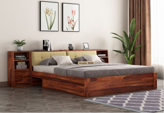 king size double cot with headboard storage