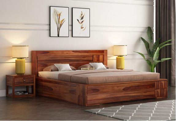 Catherine Bed With Box Storage (King Size, Honey Finish)