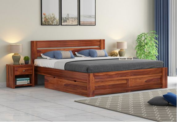 Wooden Queen Size Bed With Storage Design