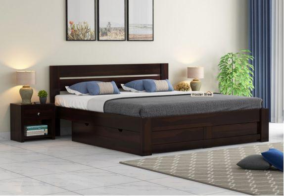 Denzel Bed with Storage (Queen Size, Walnut Finish)