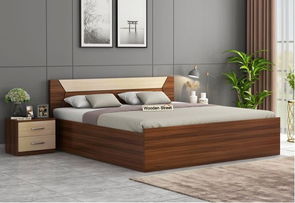 Carmen Bed With Storage (King Size, Exotic Teak Finish)