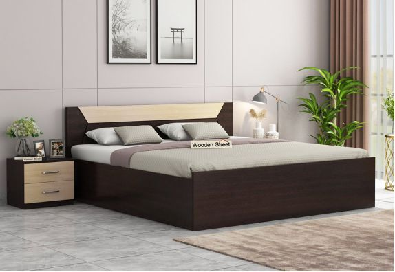 Carmen Bed With Storage (King Size, Flowery Wenge Finish)