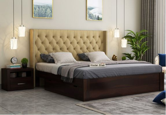 Upholstered Bed With Storage Drawers, wooden cots with storage
