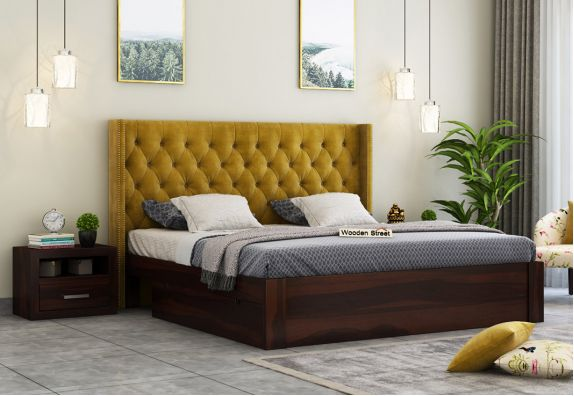 Upholstered Bed With Storage Drawers, solid wood double beds online with storage