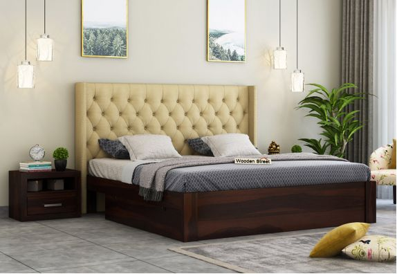 Upholstered Bed With Storage Drawers, wooden cots with storage, queen size beds