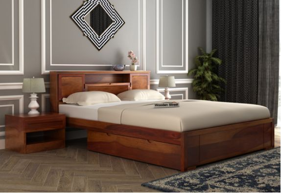 Double bed, Space saving beds, Queen Size Beds with storage, buy wooden cots
