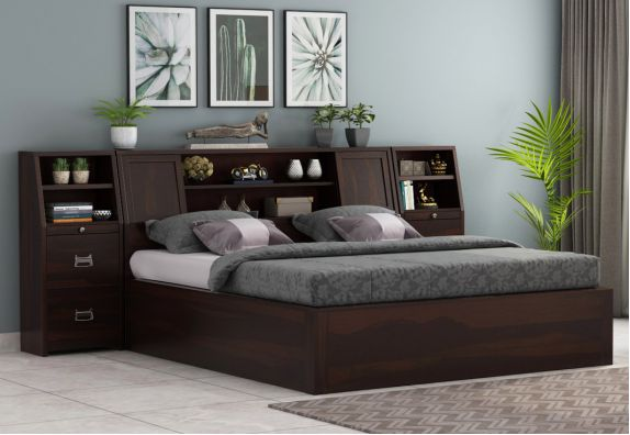 Harley Double Beds design with price, solid wood queen size bed online in India