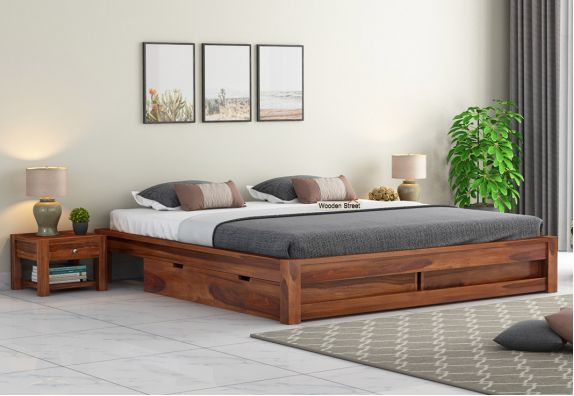 Sheesham wood bed online in honey finish (किंग साइज बेड)