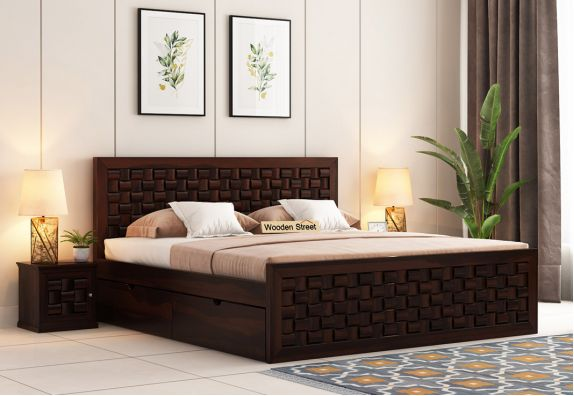 Howler Bed With Side Storage (King Size, Walnut Finish)