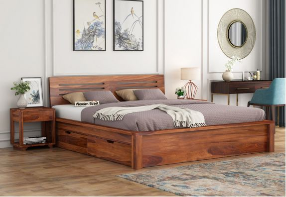 Lynet Bed With Side Storage (Queen Size, Honey Finish)