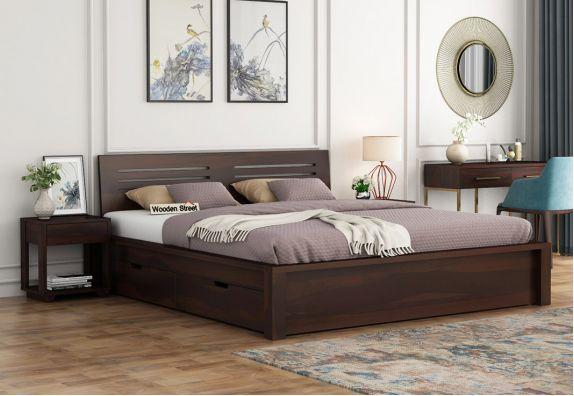 Lynet Bed With Side Storage (King Size, Walnut Finish)
