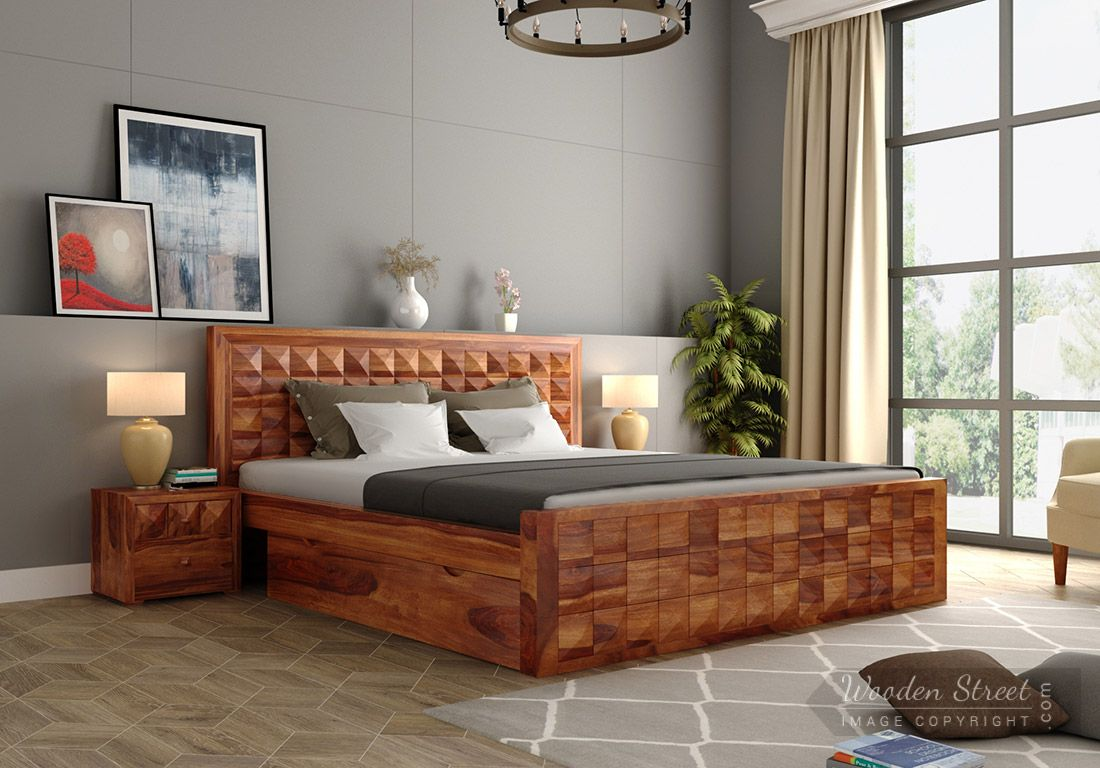 Buy Morse Bed With Storage King Size Honey Finish Online In India Wooden Street