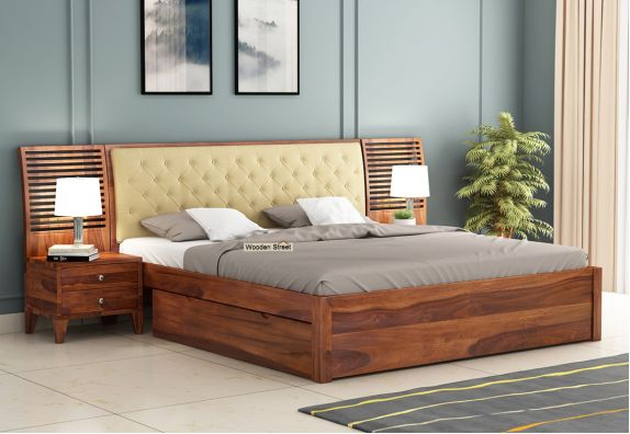 Solid wood double beds with side storage, buy wooden queen size beds online with storage, buy solid wood double cot, Bed design, beds, Bed online