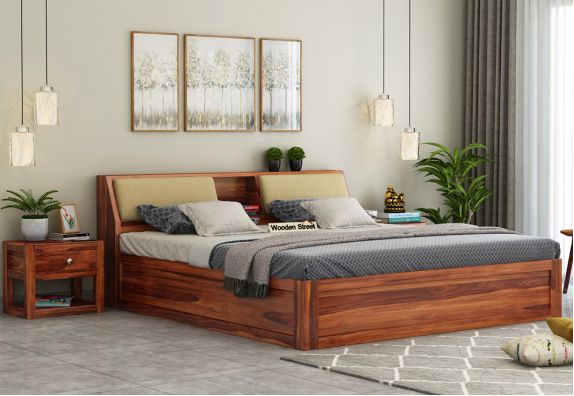 Walken Bed With Box Storage (King Size, Honey Finish)