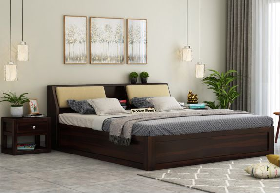 Walken Bed With Box Storage (King Size, Walnut Finish)