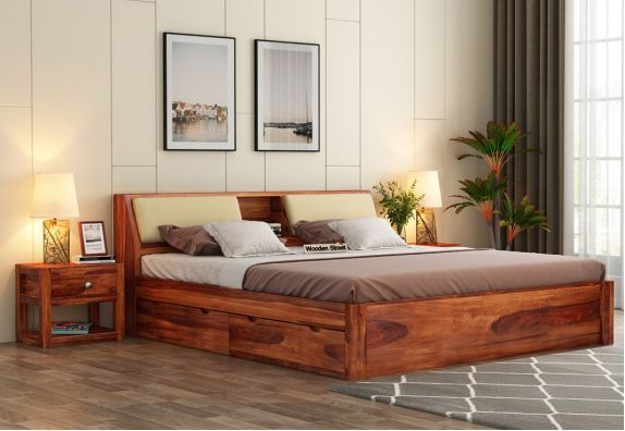 Best Queen Size Bed Designs Online in Mumbai & bangalore, solid wood double bed in India